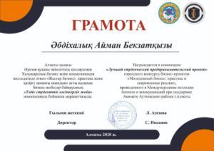 Әбдіхалық Айман номинация